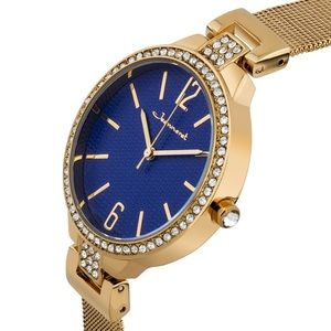 Jeanneret Crystal Bezel Mesh Band Ladies Watch.